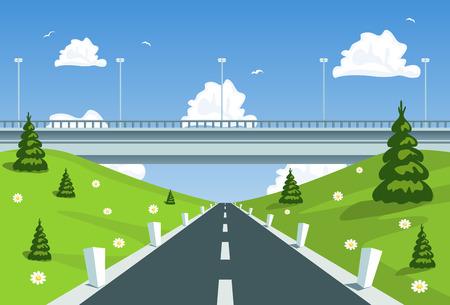 Highway under the bridge. Vector