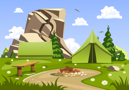cartoon fireplace: Summer day landscape and green travel, camping tent. Nature vector illustration.