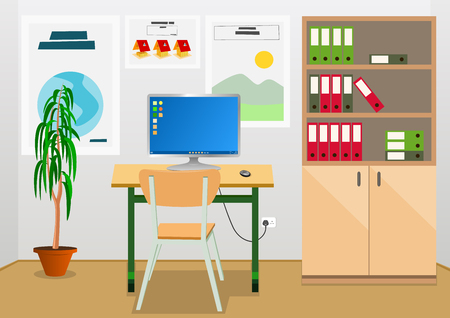 bureaucratic: Office interior with business desk and furniture. Vector illustration.