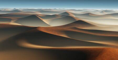 duna: paisaje del desierto de la fantasía 3D con grandes dunas de arena Foto de archivo