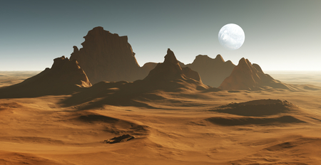 crater: 3D Fantasy desert landscape with crater Stock Photo