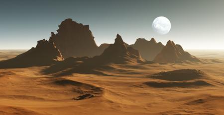 deserts: 3D Fantasy desert landscape with crater Stock Photo