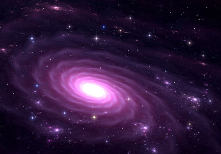astronomic: Purple galaxy. Space background with purple galaxy and stars