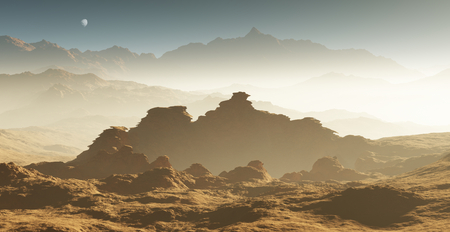 astronomic: Dust storm on Mars. Sunset on Mars. Martian landscape with craters