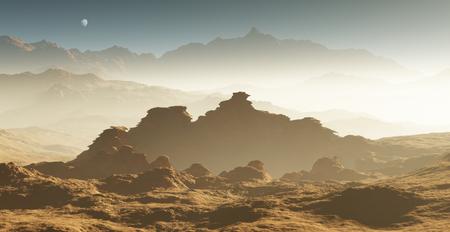 tormenta: tormenta de polvo en Marte. Puesta del sol en Marte. paisaje marciano con los cráteres