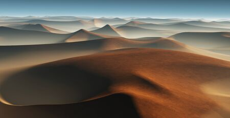 sand dunes: 3D Fantasy desert landscape with great sand dunes