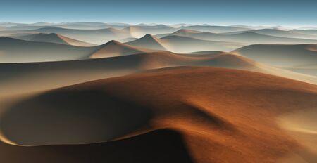 3D-Fantasy-Wüstenlandschaft mit großen Sanddünen