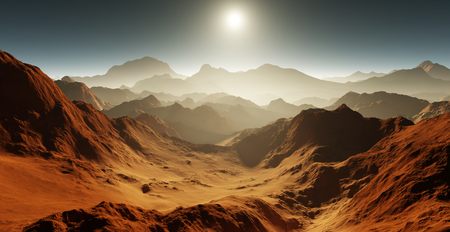 red sunset: Dust storm on Mars. Sunset on Mars. Martian landscape with craters