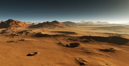 mars: Dust on Mars. Sunset on Mars. Martian landscape with craters