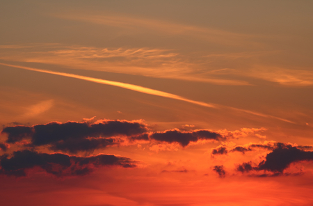 atmospheric: Sunset with clouds, atmospheric effect Stock Photo