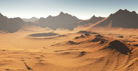 martian: Dust storm on Mars. Sunset on Mars. Martian landscape with craters