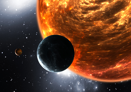 dwarf: Extrasolar planets or exoplanets and red dwarf or red supergiant. 3D illustration Stock Photo