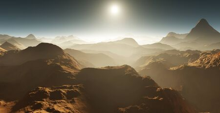 cosmology: Dust storm on Mars. Sunset on Mars. Martian landscape. 3D rendering Stock Photo