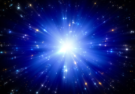 Space tunnel or time warp, traveling in space with stars. Stock Photo