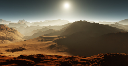astronomic: Dust storm on Mars. Sunset on Mars. Martian landscape. 3D rendering Stock Photo