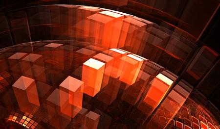 tiefe: Rote transparente Blöcke mit der Illusion von Tiefe und Perspektive Lizenzfreie Bilder