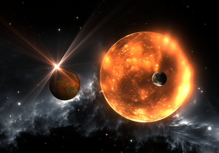 Extrasolar planets or exoplanets and red dwarf or red supergiant. 3D illustration Stock Photo