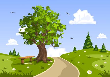 bench alone: Summer day landscape. Nature vector illustration.