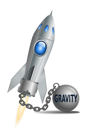 Concept van de zwaartekracht. Raket met bal en ketting, vector illustratie