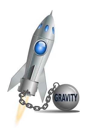 gravedad: Concepto de la gravedad. Cohete con bola y una cadena, ilustración vectorial