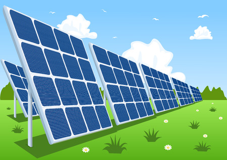 panels: Solar panels or photovoltaic modules, vector illustration