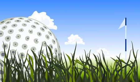 close: Golf ball on the green grass, close up