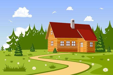 chalet: Serene summer day landscape with Chalet. Vector Illustration Illustration