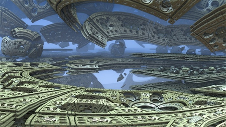 3D fantasy abstract background from strange shapes, 3D illustration