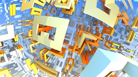 complex: Colorful geometric shapes floating in space, 3D Labyrinth or Maze Stock Photo