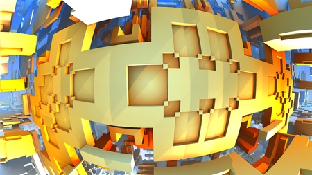 3d weird: Orange geometric shapes floating in space, 3D Labyrinth or Maze