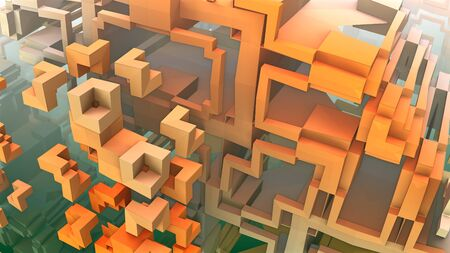rendered: 3D geometric shapes floating in space, 3D Labyrinth or Maze