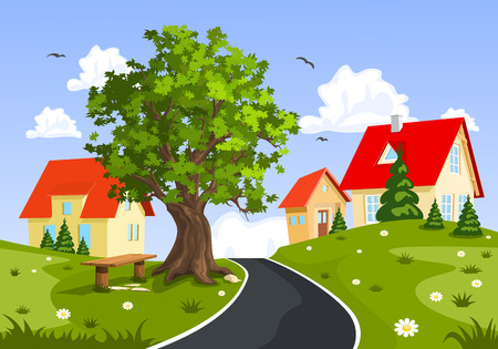 carriageway: View of the city and countryside, vector illustration