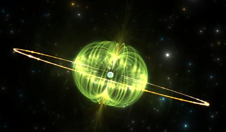 Magnetar oder Neutronenstern mit extrem starken Magnetfeld, illustration