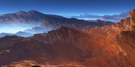 cliffs: Fantasy volcanic rocks desert landscape. 3D illustration