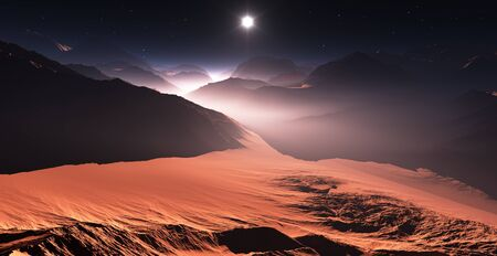 astronomic: Sunset on Mars. Mars mountains, view from the valley. 3D illustration Stock Photo