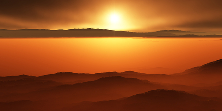 astronomic: Titan, largest moon of Saturn with atmosphere. Surface landscape of Titan. Evaporating the hydrocarbon lakes.