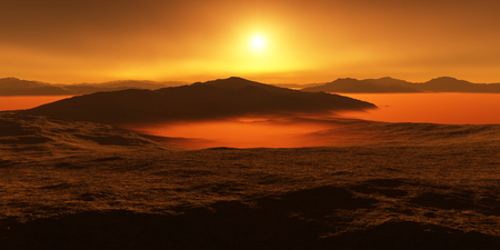 evaporating: Titan, largest moon of Saturn with atmosphere. Surface landscape of Titan. Evaporating the hydrocarbon lakes.