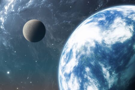 planet earth: Earth like planet or Extrasolar planet with moon. 3D illustration Stock Photo