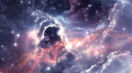 Plasmatic nebula, deep outer space background with stars
