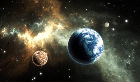 earthlike: Extrasolar planet. Earth-like exoplanet on background nebula. Stock Photo
