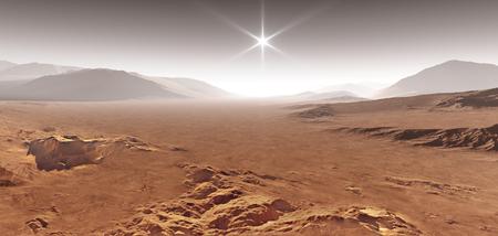 Sunset on Mars. Martian landscape with sand dunes. 3D illustration