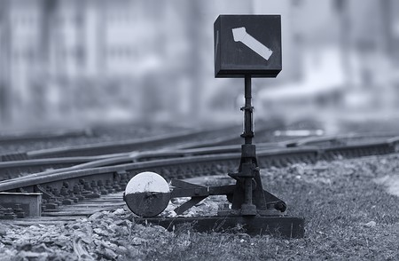 Manual railroad switch of the old train station