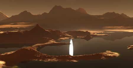 sunset lake: Titan, largest moon of Saturn with dense atmosphere. Hydrocarbon lakes and seas of Saturn moon Titan. 3D illustration