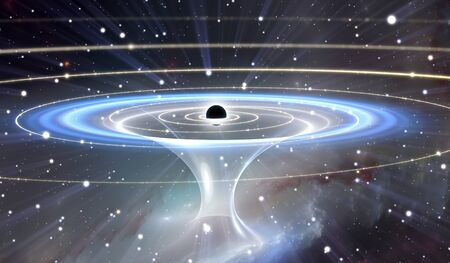 astronomic: Wormhole or blackhole, funnel-shaped tunnel that can connect one universe with another
