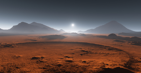 Sunset on Mars. Martian landscape. 3D illustration Banco de Imagens