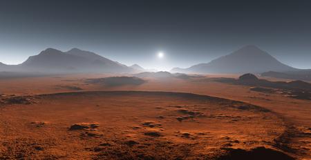 Zonsondergang op Mars. Martiaans landschap. 3D illustratie Stockfoto