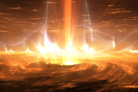 Sun plasma flares. Solar storm, solar flares, illustration 写真素材