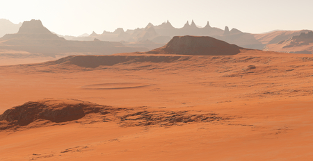 astronomic: Mars - the red planet. Martian landscape and dust in the atmosphere. 3D illustration