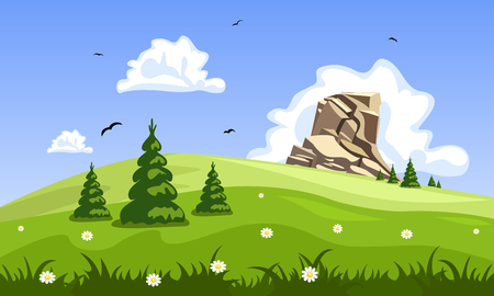 Cartoon spring landscape. Green landscape with trees, clouds, rock and flowers. Vector background