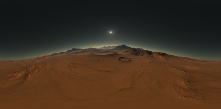 Panorama of Mars sunset, environment HDRI map (15000x7425)